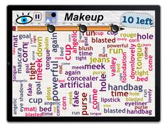 """WordMess: find 10 words in the category """"Makeup"""""""