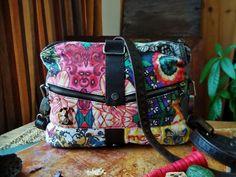 Vintage Dezigual Purse Fabric Multicolored Bohemian Purse Two Pins Handbag Floral Butterfly Rainbow Tones Boho Hippie Girl Women Woman Gift