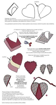 In drawing: make heart pot holders for your cooking .- In drawing: make heart pot holders for your kitchen // www. Small Sewing Projects, Sewing Projects For Beginners, Sewing Hacks, Sewing Tutorials, Potholder Patterns, Quilt Patterns, Sewing Patterns, Techniques Couture, Sewing Techniques
