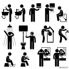 Vektor: Personal Hygiene Washing Body and Grooming