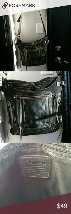Funky FOSSIL CROSSBODY BAG Blk. Leather and Canvas w/Chunky Brass Hardware. Pockets Galore...Super Fly! EUC! Fossil Bags Crossbody Bags