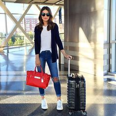 Airport look - casual and comfy with a touch of color (love my swagger bag)…