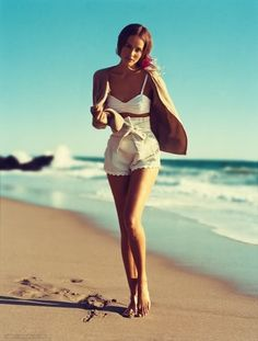 I'm so feeling the high-waisted white shorts.