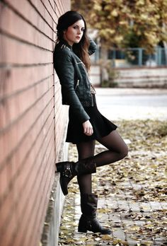 all black and dress with boots and yes.