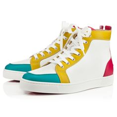 """Rantus"" is a highly coveted hightop that has become a staple in the Christian Louboutin men's sneaker collection. In white calf with a color blocked trim, this ""Rantus"" ideal for the globe-trotting, fashionable male who understands the language of luxury."