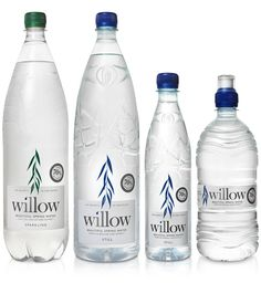New Packaging for Willow Water by Kirsty Mcmaster - BP&O Water Packaging, Beverage Packaging, Bottle Packaging, Bottle Mockup, Water Bottle Design, Water Bottle Labels, Pet Bottle, Water Bottles, Food Packaging Design