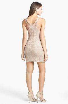 Hailey Logan Illusion Panel Textured Body-Con Dress (Juniors)   Nordstrom