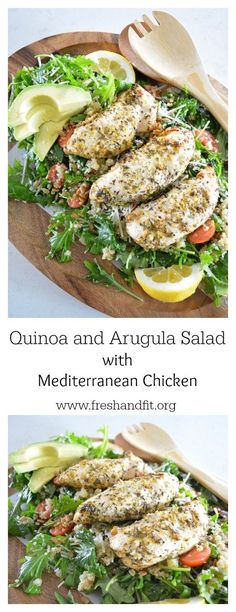 A recipe featuring quinoa, arugula and mediterranean style chicken. So much more than a salad, this recipe is a stand alone dish.