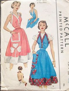 McCall 1579 halter apron or sundress with clover applique