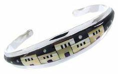 Multicolor And Sterling Silver Native American Village Or Pueblo Design Cuff Bracelet YS66670 SilverTribe. $252.99