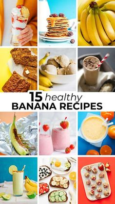 These healthy banana recipes are perfect for using those overripe bananas, from easy pancakes to creamy smoothies to fruity breakfast casseroles! #banana #healthyrecipes #breakfast #dinner #vegetarian