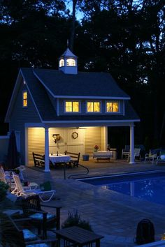 Look how pretty this Kloter Farms pool house looks lit up at night. Read our blog to learn more about our custom quality outdoor structures. Pool House Shed, Backyard Sheds, Pool Houses, Shed Makeover, Backyard Makeover, Pool House Designs, Tiny House Design, House Seasons, Rest House