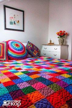 Delicadezas en crochet Gabriela: Manta vinculando motivos con  brillantes colores
