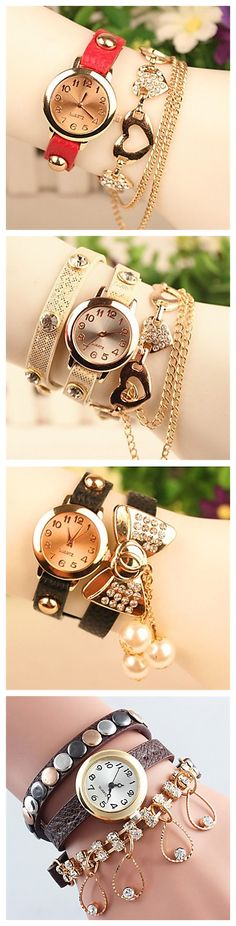 Charms on bracelet watches. Heart, butterfly and pendant designs are 90% OFF from 4.23-4.28 2015 They'll bring you good luck!