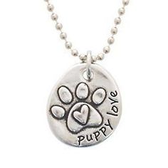 Signs and Plaques 46299: Rockin Doggie Pewter Paw Necklace Heart/Puppy Love BUY IT NOW ONLY: $36.76