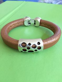 Unisex Silver and Leather Bracelet by joytoyou41 on Etsy