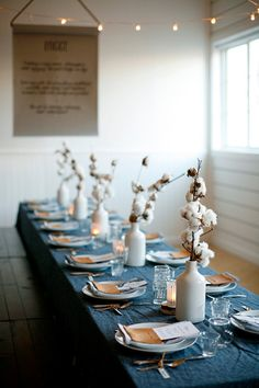 {Indigo + Gold + White Table Setting}  love the cotton blossoms - denim and copper is very hot right now