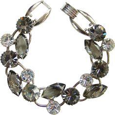 Juliana Black Diamond Clear Rhinestone 5 Link Cluster Bracelet Silvertone DeLizza Elster
