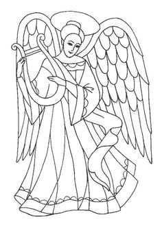 Dessine un nuage sous les pieds de cet ange qui joue de la harpe et colorie-le après