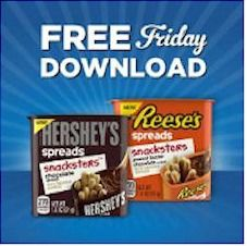 Kroger free Friday download logo to promote free Reese's or Hershey's Spreads Snacksters