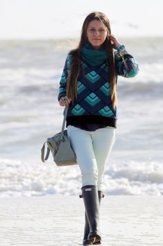 Wearing Wellingtons at the seaside
