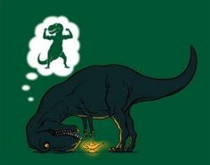 Poor T-Rex. I didn't retain very much from my geology of dinosaurs class, but I do find T-Rex jokes even more amusing now. Sheldon The Tiny Dinosaur, Dinosaur Funny, Dinosaur Dinosaur, T Rex Humor, T Rex Jokes, Golf Humor, Humor Grafico, Wishful Thinking, Fun To Be One