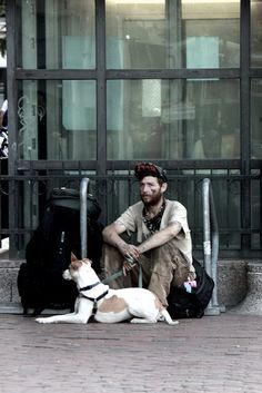 Traveling with a friend. on Flickr. Cambridge, MA #homelessman #cambridgeMA #canon #dog