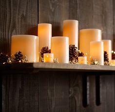 Ivory Wax Flameless Pillar Candles | Candlelight & Scent | Restoration Hardware