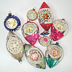 9 Japan Indents Glass Christmas Ornaments