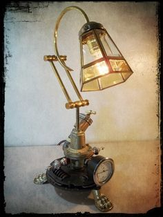 Industrial Steampunk Repurposed Upcycled Clutch Disk Table Lamp