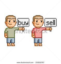 Pixel art people with plates buy and sell