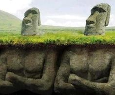 Did you know that the giant stone heads on Easter island have bodies?! Lol not these but close!