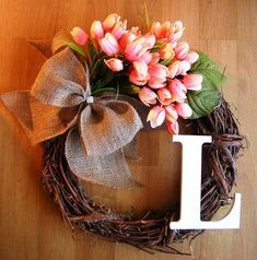 Spring Wreath with Peach Tulips and Monogram, Initial Wreath, Tulip Wreath… Wreath Crafts, Diy Wreath, Grapevine Wreath, Diy Crafts, Chevron Burlap Wreaths, Wreath Burlap, Initial Wreath, Tulip Wreath, Outdoor Wreaths