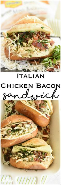 Italian Chicken Bacon Sandwich toasted sandwich make ahead great for crowds easy meal #ad #Rhodes