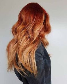 New & Fresh Hair Color Style to Rock In 2019 Lovely Ideas of Red Hair Color for Long hair Source by Red Balayage Hair, Red Blonde Hair, Copper Blonde Hair, Red Copper Hair Color, Long Red Hair, Copper Ombre, Copper Balayage, Natural Red Hair, Balayage Highlights