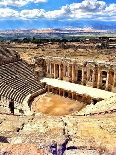Beautiful ruins of an ancient theatre, Hierapolis, Turkey. Near Pamukkale, Turkey. Places Around The World, Travel Around The World, The Places Youll Go, Places To See, Around The Worlds, Pamukkale, Beautiful Ruins, Beautiful Places, Istanbul