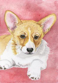 Corgi dog painting 5x8 print from original watercolor painting pet portrait wall art pet paintings earthspalette. $10.00, via Etsy.