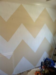 Chevron stripe walls