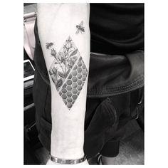 bee honeycomb monochromatic tattoo b&w