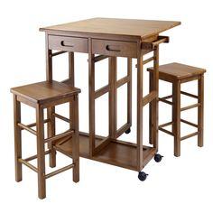3 Piece warm teak finish small drop leaf kitchen table set. Island table.