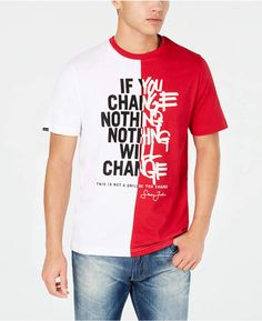 Sean John Men's Nothing Will Change Colorblocked Graphic T-Shirt - Red XL New T Shirt Design, Shirt Designs, Kids Fashion Boy, Boys T Shirts, Baby Clothes Shops, Tshirts Online, Shirt Style, Cherry, Mens Tops