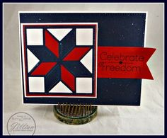 handade 4th of July card: die cut  Eight (8) Point Star Quilt Block ... luv the embossed stitching lines ... red, white & blue ... Jillian Vance Design