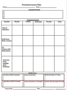 » Printable Lesson Plan Template Nuttin' But Preschool