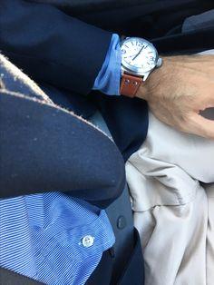 Mens' navy blue blazer - marine shirt - cream chino - brown leather watch