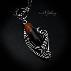 Promotion 20% off Pendant with agate silver wire by GaleriaM