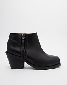 Pieces Exanne Square Toe Ankle Boots