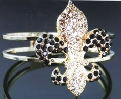 NEW! BEAUTIFUL FLEUR DE LIS /SAINTS/NEW ORLEANS  BRACELET-GOLD-BLACK