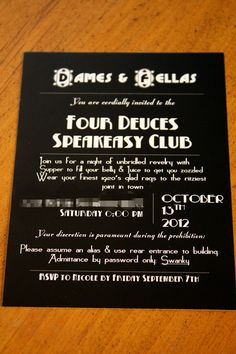 Murder at the Four Deuces: Murder Mystery Dinner Party | Great ideas