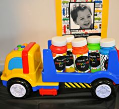 A Bold Colorful Truck Transportation Themed Second Birthday Party