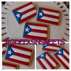 Items similar to Flag Cookies for any country. Puerto Rico shown .Greeks-N-Sweets on Etsy Puerto Rican Dishes, Puerto Rican Cuisine, Puerto Rican Recipes, Puerto Rico Cookies, Puerto Rico Food, Puerto Rican Christmas, Puerto Rican Coffee, Havana Nights Party, Comida Boricua